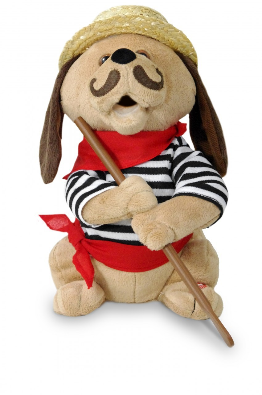 GONDOLOMIO ROMANTIC ITALIAN ANIMATED PLUSH PUPPY DOG TOY (SINGS TO 'O SOLO MIO')